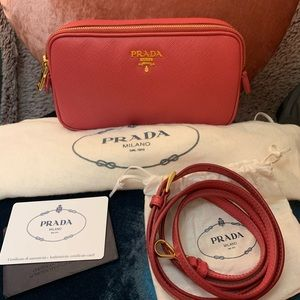 Prada Saffiano Pink Double Zip Camera Bag